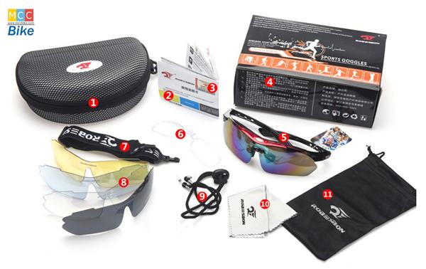 แว่นตาปั่นจักรยาน Robesbon มีคลิปสายตา เปลี่ยนเลนส์ได้หลายสี เลนส์ 5 ชุด R002