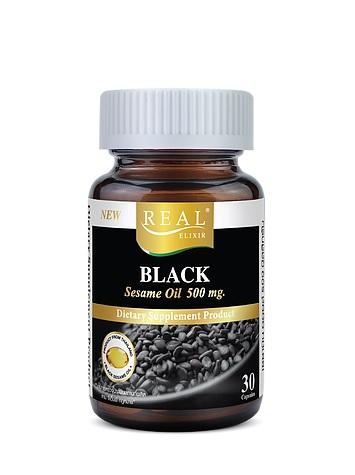 REAL ELIXIR BLACK SESAME OIL 500 MG. เรียล อิลิเซอร์ น้ำมันงาสกัดเย็น