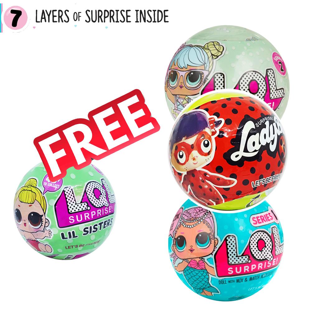 LO030 แพ๊ครวม L.O.L Surprise ตุ๊กตาเซอร์ไพร์ส 7 ชั้น 3 รุ่น แถมรุ่น น้องสาว 1 ลูก