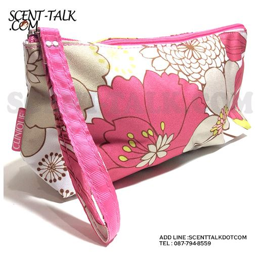 Clinique sweet cosmetic bag กระเป๋าเครื่องสำอางทรงยาวดอกไม้สีหวาน