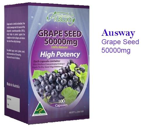 Ausway Grape Seed 50000 mg. ออสเวย์ เกรป ซีด บรรจุ 100 แคปซูล