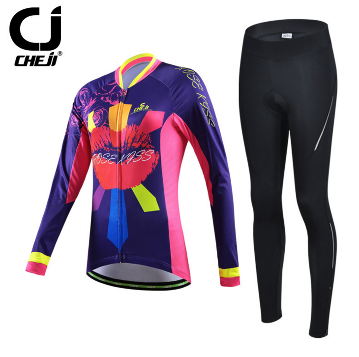 ชุดปั่นจักรยานผู้หญิง PP001 เสื้อปั่นจักรยานแขนยาว พร้อมกางเกงปั่นจักรยานแขนยาว อย่างดี