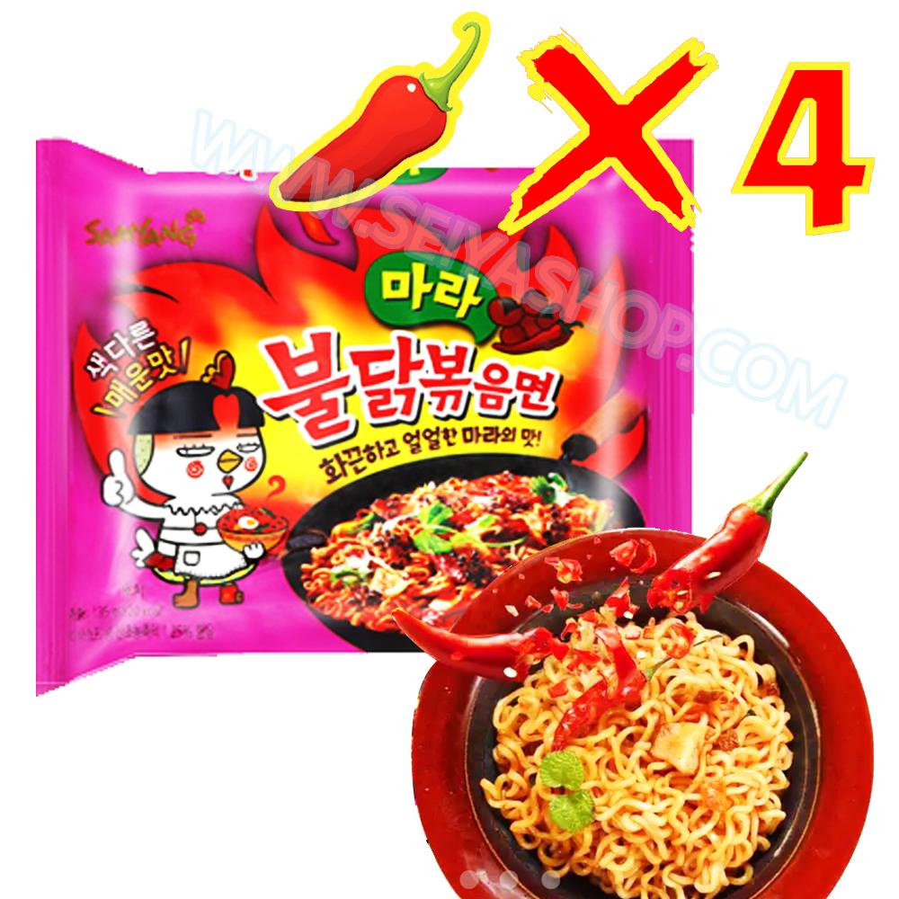 MM016 มาม่าเกาหลีรสเผ็ด x4 รส หม่าล่า ซัมยัง ฮ็อตชิคเค่น ราเม็ง