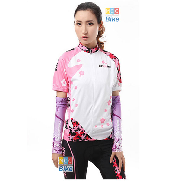 ชุดปั่นจักรยานผู้หญิง สีชมพู แขนสั้น