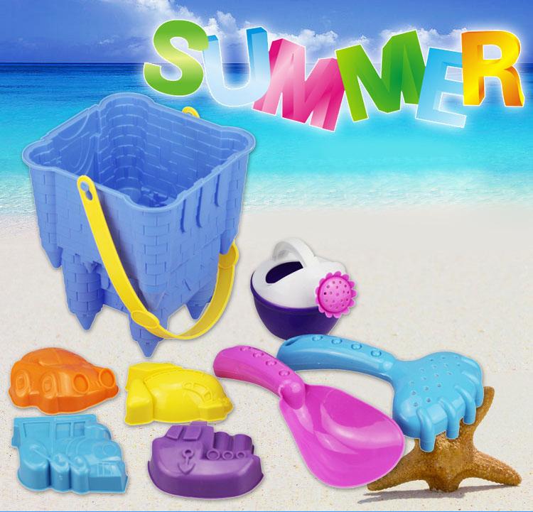 PA142 ชุดอุปรณ์ ทรายนิ่ม Soft Sand Play Sand ถังปราสาท พร้อมอุปกรณื 8 ชิ้น คละสี