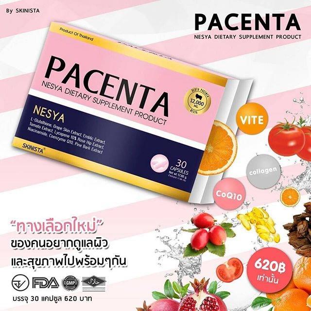 PLACENTA NESYA by skinista พาเซนต้า เนสญ่า วิตามินอนุพันธ์ ผิวออร่า ท้าแสงแดด 30 เม็ด
