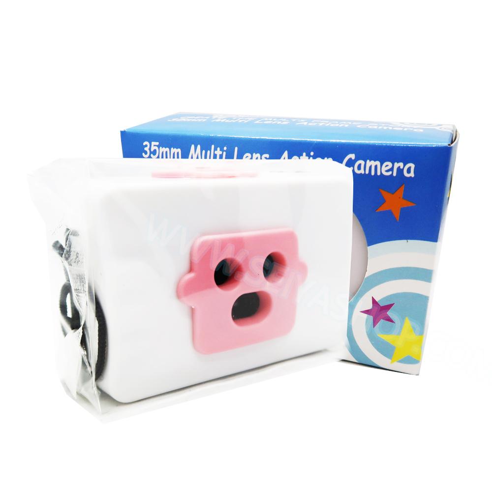 TY084 กล้องทอย Toy Camera โลโม่ 3 เลนท์ สีชมพู-ขาว ไม่ต้องใช้ถ่าน ใช้ฟิล์ม 35mm (ฟิลม์ซื้อแยกต่างหาก