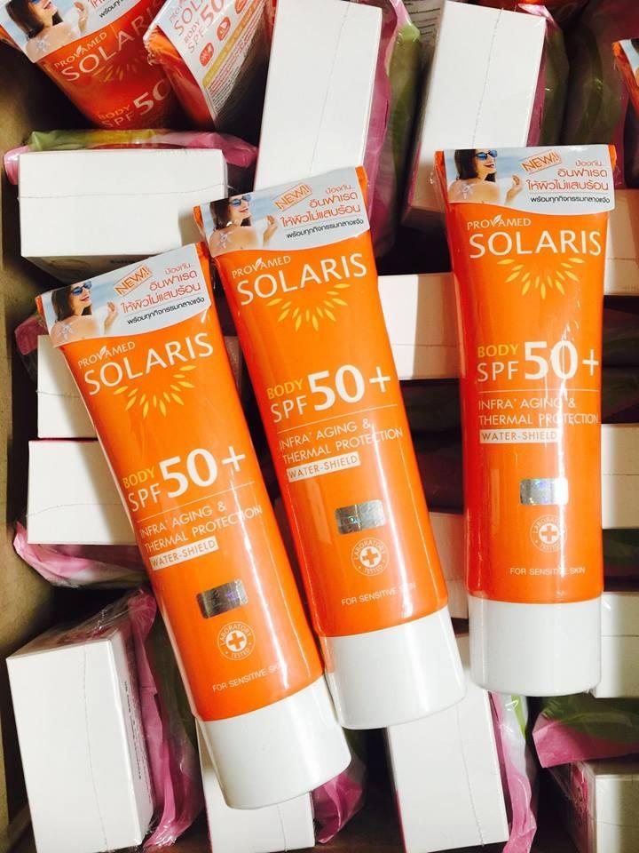 Provamed Solaris Body SPF 50+ ปริมาณสุทธิ 100 ml. ปกป้องผิวกายจากแสงแดดและความร้อน สำหรับกิจกรรมกลางแจ้ง