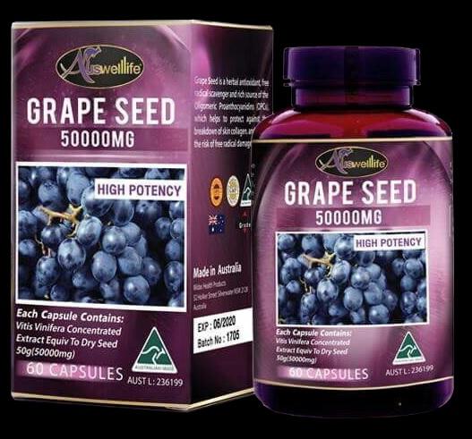 Auswelllife Grape Seed 50,000mg ออสเวลไลฟ์ เกรฟ ซีด 50000มก 60 แคปซูล