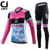 ชุดปั่นจักรยานผู้หญิง Cheji Black-Pink เสื้อปั่นจักรยานแขนยาว พร้อมกางเกงปั่นจักรยานแขนยาว อย่างดี