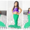 NA007 หางนางเงือกน้อง นะโม Kid Play สีเขียว ม่วง ผ้ายืดแบบชุดว่ายน้ำ ทรงเสื้อแบบมีระบายฟรุ้งฟริ๊ง