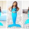 NA005 หางนางเงือกน้อง นะโม Kid Play สีฟ้า ผ้ายืดแบบชุดว่ายน้ำ ทรงเสื้อแบบมีระบายฟรุ้งฟริ๊ง