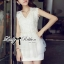 DR-LR-095 Lady Amelia White Classic Lace Peplum Dress thumbnail 7
