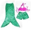 NB004 ชุดว่ายน้ำเด็ก หางนางเงือก สี ชมพู เขียว มีเกล็ด กระโปรง สามารถนำขาออกได้ ทรง 1 ชุด มี 3 ชิ้น