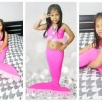 NA006 หางนางเงือกน้อง นะโม Kid Play สีชมพู ผ้ายืดแบบชุดว่ายน้ำ ทรงเสื้อแบบมีระบายฟรุ้งฟริ๊ง
