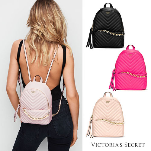 78cab92704 กระเป๋าเป้ Victoria s Secret Pebbled V-Quilt Small City Backpack สะพายหลัง
